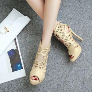 Ladies-Party-Peep-Toe-Hollowed-Sandals-High-Top-Slim-Heel-Court-Shoes-Plus-Size