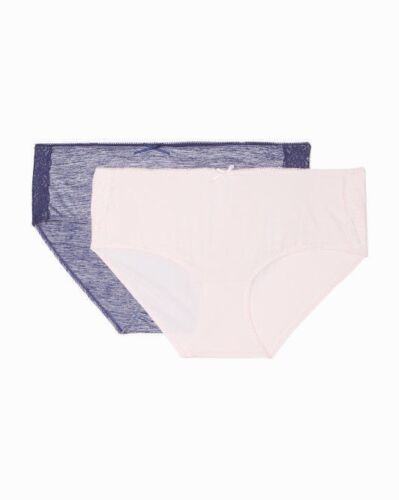 JESSICA SIMPSON Panties Briefs 2 pack 1X 2X Plus Hipster Blue Pink Full Figure