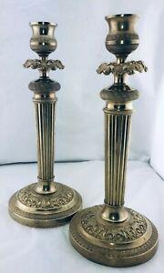 Belle-Paire-de-bougeoirs-en-bronze-dore-Chandelier-Candlestick-XIX