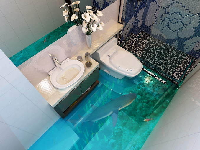 3D Sea Whale Fish 7 Floor WallPaper Murals Wall Print 5D AJ WALLPAPER UK Lemon