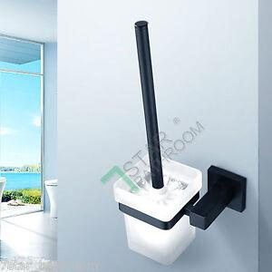 Toilet-Brush-Holder-SET-Black-Stainless-Steel-Wall-Mounted-Square-Matt-Glass-Cup