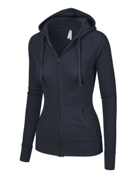 DAMEN Marineblau Thermal Jacke Training Lounge Kapuze Hemd Sexy Fitness Sport