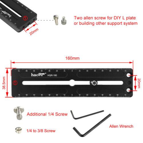 160mm QR Long Rail Quick Release Plate for Arca Swiss Tripod Ball Head Clamp