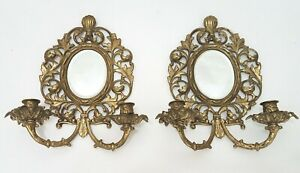 Glo-Mar-French-Rococo-Style-Sconce-Wall-Candle-Holder-Gold-Tone-Mirrored-PAIR
