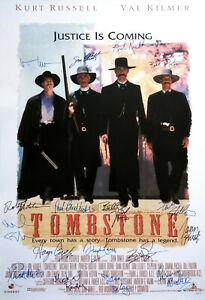 TOMBSTONE MOVIE Poster Signed by 17 castmembers, Excellent white replica