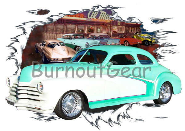 1948 Grün Chevy Coupe Custom Hot Rod Diner T-Shirt 48 Muscle Car Tees