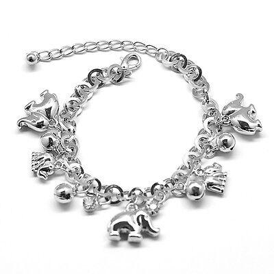 Round Chain Elephant Bells Charm Clear Rhinestone Bracelet