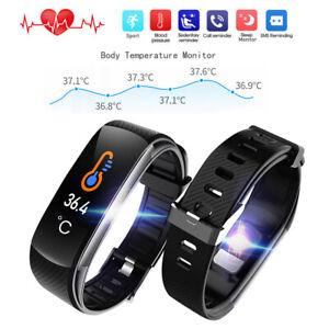 Fitness Tracker Smartwatch Körpertemperatur Pulsmesser Sport Uhr für iOS Android