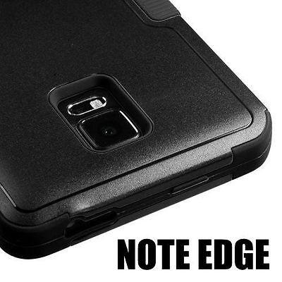 For Samsung Galaxy Note Edge -HARD&SOFT RUBBER HYBRID ARMOR CASE BLACK KICKSTAND