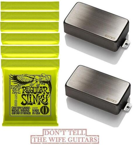 EMG 81 6 ERNIE BALL #2221 85 BRUSHED CHROME HUMBUCKER SET SHORT SHAFT POTS