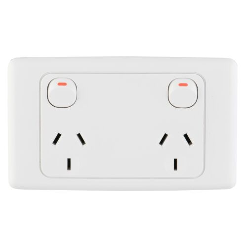 Double Switched Outlet *Aust Brand Deta WIDE SPACED POWER POINT 250V 10A Rated