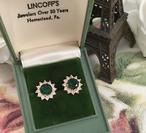 Vintage-Jewellery-Gold-Earrings-with-Emeralds-White-Sapphires-Jewelry-Ear-Rings