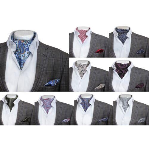 Para Hombre Casual Retro Estampado Algodón Corbata Y Pañuelo Boda Vintage Ascot