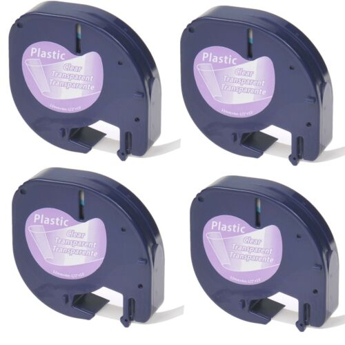 """4PK Black on Clear Refill Tape LT 16952 for DYMO LetraTag/&QX50 Label Makers 1//2/"""""""