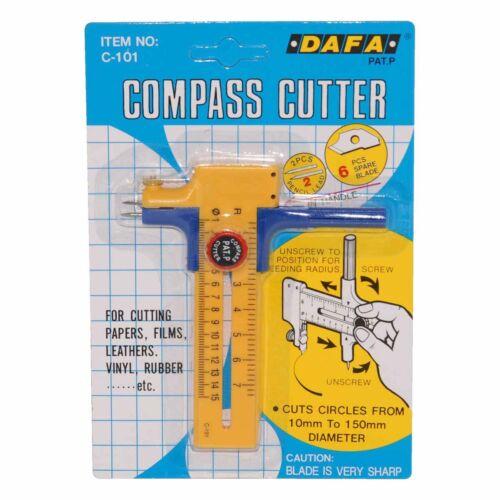 DAFA COMPASS PAPER CARD LEATHER VINYL CIRCLE APERTURE CUTTER CUTS UP TO 150mm