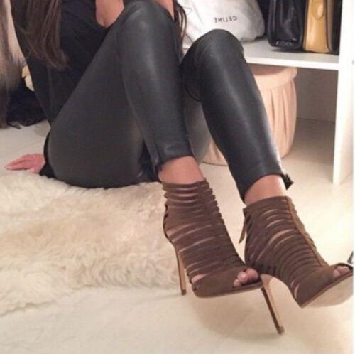 High Size Sandals 38 Heels 2618 5 Zara Brown 001 Khaki Green Multi Strap Uk Eu fUn8X0qw