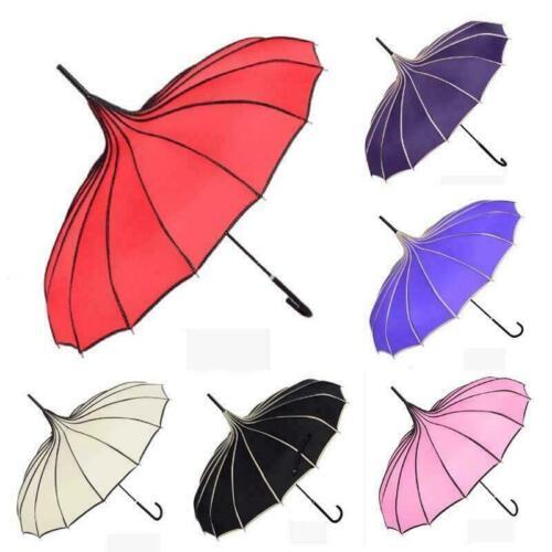 Femmes Coloré parapluie pagode Uv Parasol Pluie Casual Vintage Parapluie Coupe-vent