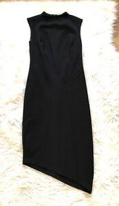 Banana-Republic-Womens-0-Black-Dress-Sheath-Sleeveless-High-Neck-LBD-Asymetrical