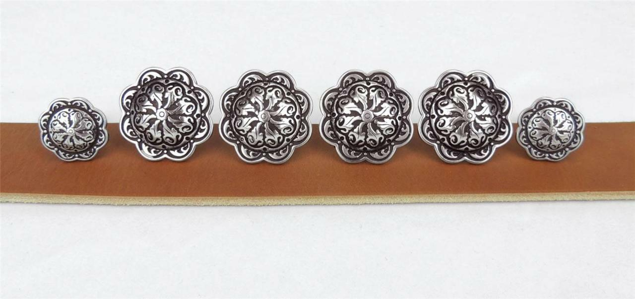 """Set of 6 WESTERN SADDLE HEADSTALL BRIGHT SILVER BERRY CONCHO 3//4/"""" screw back"""