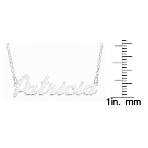 """/""""Patricia/"""" Name Necklace Sterling Silver Rolo Chain Pendent Personalized Custom"""
