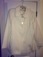 TAHARI WINTER WHITE BUTTON DOWN DRESS JACKET SIZE LARGE NEW