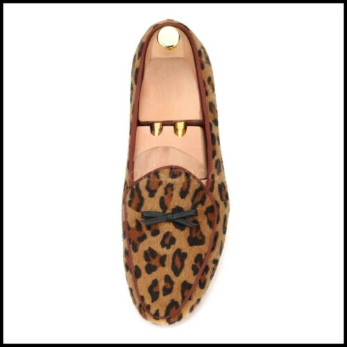 Occident Mens Genunine Suede Leather Leopard Loafers Slip On Dress Casual Shoes