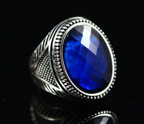 Turco hecha a mano joyería 925 Sterling Silver Anillo de hombre del zafiro Talla 8 9 10 11