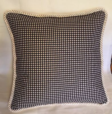 Cottage French Country Black Natural Check Pillow Cushion Ivory