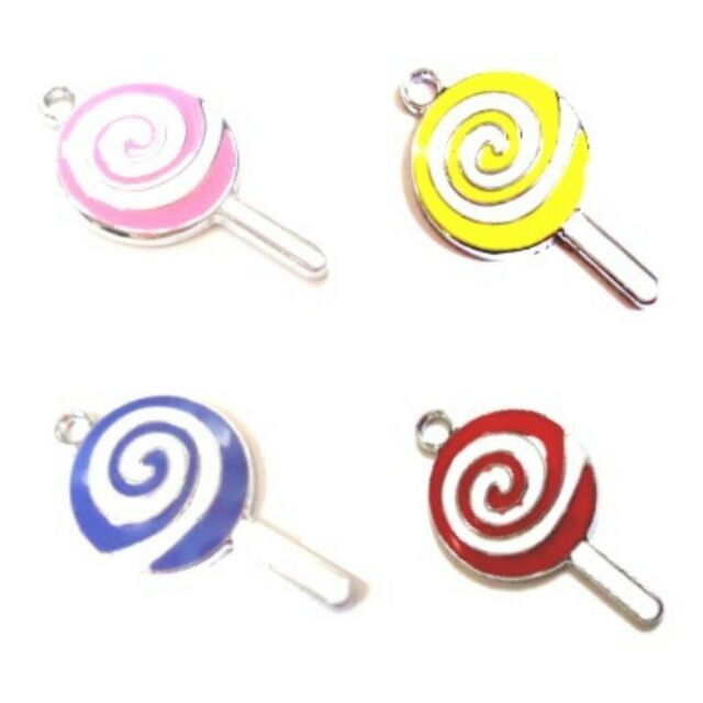 5 Pcs 17x30mm Lollipop Zinc Alloy Enamel Charm Pendants- Mixed - A0789