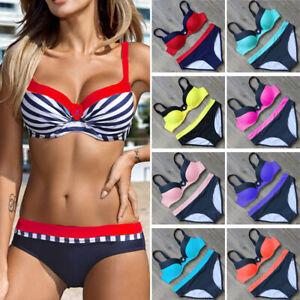 Plus-Size-Women-Triangle-Bikini-Set-Push-up-Padded-Top-Beach-Swimsuit-Swimwear