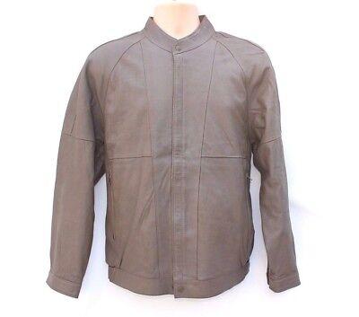 Men's Vintage Cristo Bomber Harrington Grigio 100% Vera Pelle Cappotto Giacca M/l-mostra Il Titolo Originale Non-Stireria