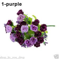 Purple Rose Bunch 21 Head Artificial Flowers Party Vase Display Decor Wedding