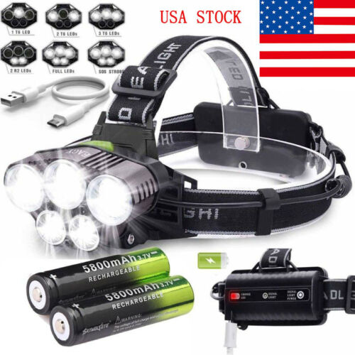 160000LM 5X T6 LED Headlamps Rechargeable Headlight 18650 Flashlight Head Torch