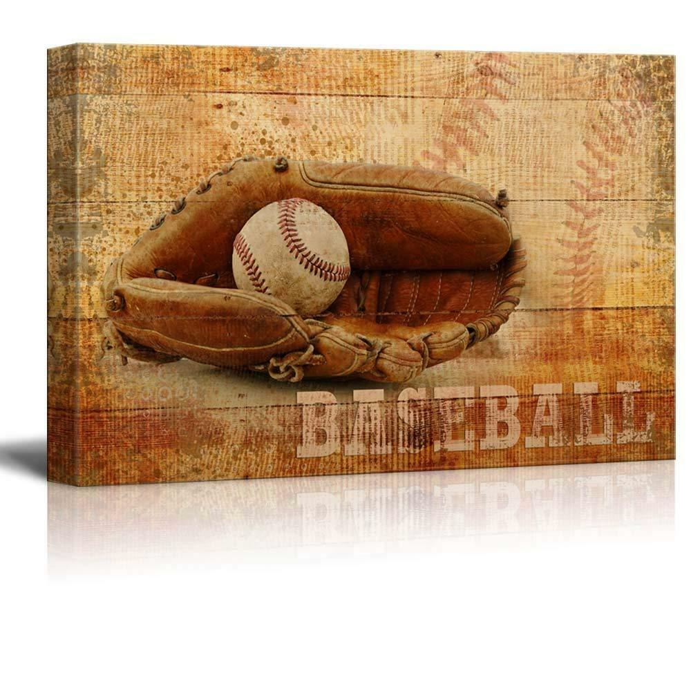 Wall26 Rustic Baseball Mitt and Ball Vintage Wood Grain - CVS - 32x48 inches