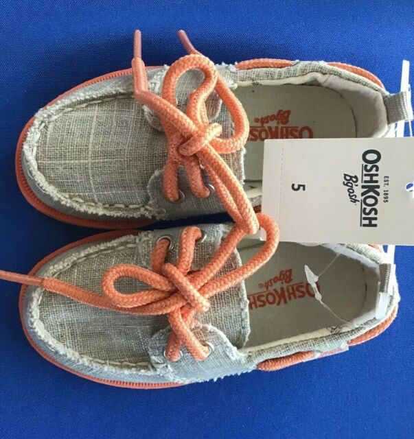 OshKosh B'Gosh Toddler Boat Shoe Gray with Laces Tie Slip ...