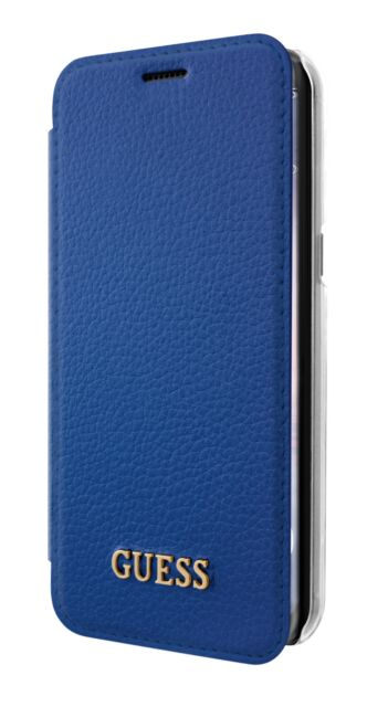 Genuine GUESS Iridescent Collection Book Case for Samsung S8 in Blue