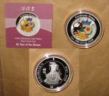 """2008 FIJI Year of RAT Gilded Golden $2 D Color proof Silver coin with COA """"SCARC"""