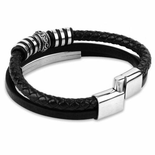 Bracelet Homme Cuir Acier Inoxydable Fermeture Magnetique Noir Men/'s Bracelet
