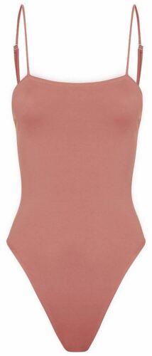 Ladies Cami Bralet Square Neck Strappy Bodysuit Leotard Body Top