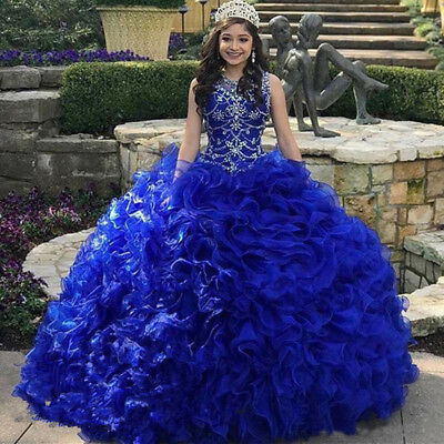 Beaded Ruffles Royal Blue Ball Gown Quinceanera Dress Prom Perform Wedding Gown Ebay