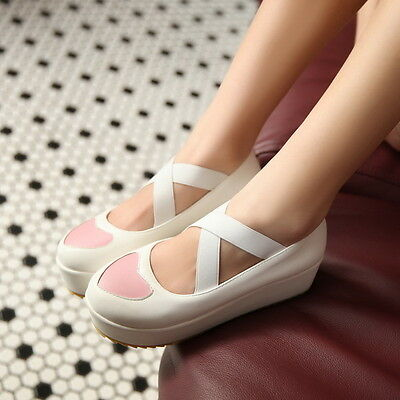 Womens Girls Platform Wedge Heel Sweet Candy Creepers Pumps Heart Shoes Fashion