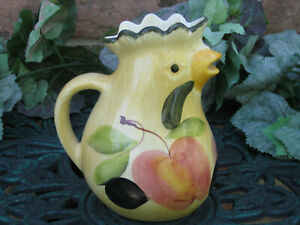 Figural-PITCHER-ROOSTER-CHICKEN-034-Toscana-Verde-034-Italy-MARKETPLACE-APPLE-PLUM
