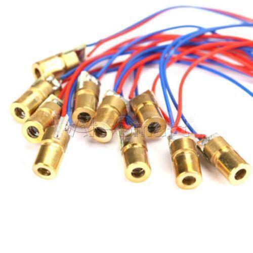 10 X 650 µ 6 mm 3 V 5 mV módulo de diodo láser de punto rojo de cobre Cabeza Mini Puntero L49