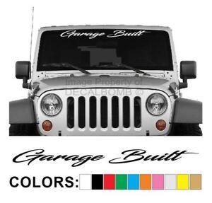 Garage-Built-Windshield-Decal-Sticker-Turbo-Car-Truck-Diesel-Race-Low-Lift-Pro