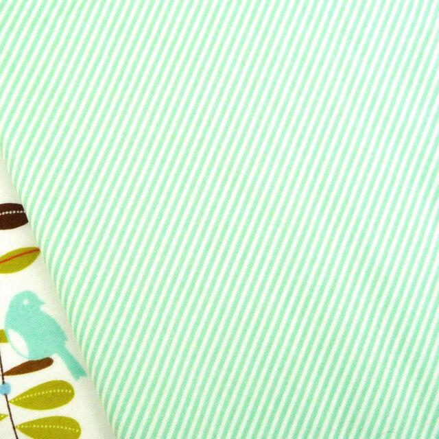Spearmint blue and cream mini stripe fabric / quilting bunting aqua turquoise