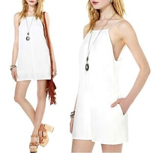 NWT-White-Spaghetti-Strap-High-Neck-Low-Back-Short-Romper-With-Lining