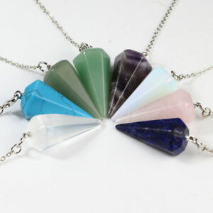 Gemstones-Amethyst-Quartz-Crystal-Healing-Dowsing-Chakra-Chain-Pendant-Pendulum