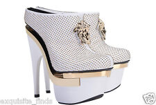 $2445 New VERSACE White Leather Triple Platform Studded Bootie Boots 41 - 11