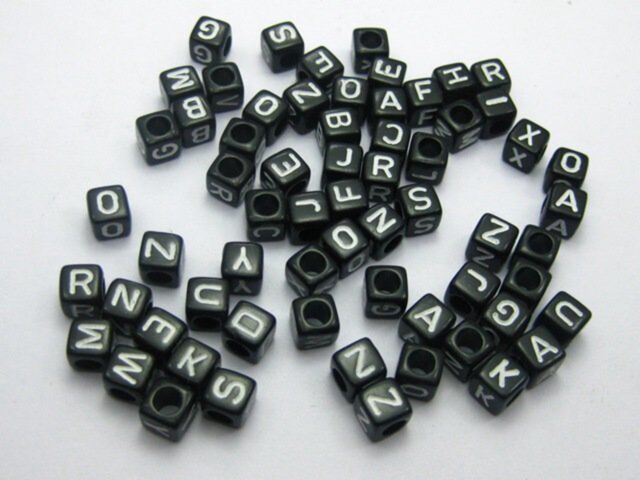 250 Black with white Acrylic Assorted Alphabet Letter Cube Pony Beads 6X6mm