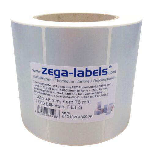 Thermotransfer Etiketten Rolle 102x48mm PET Polyester Folie silber Typenschilder